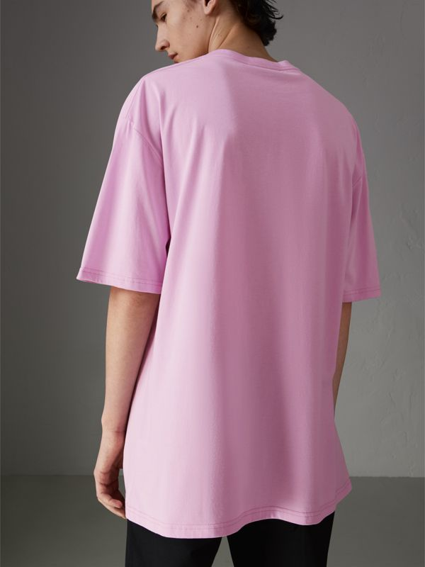 Graffitied Ticket Print Cotton T-shirt in Light Pink - Men | Burberry - cell image 2