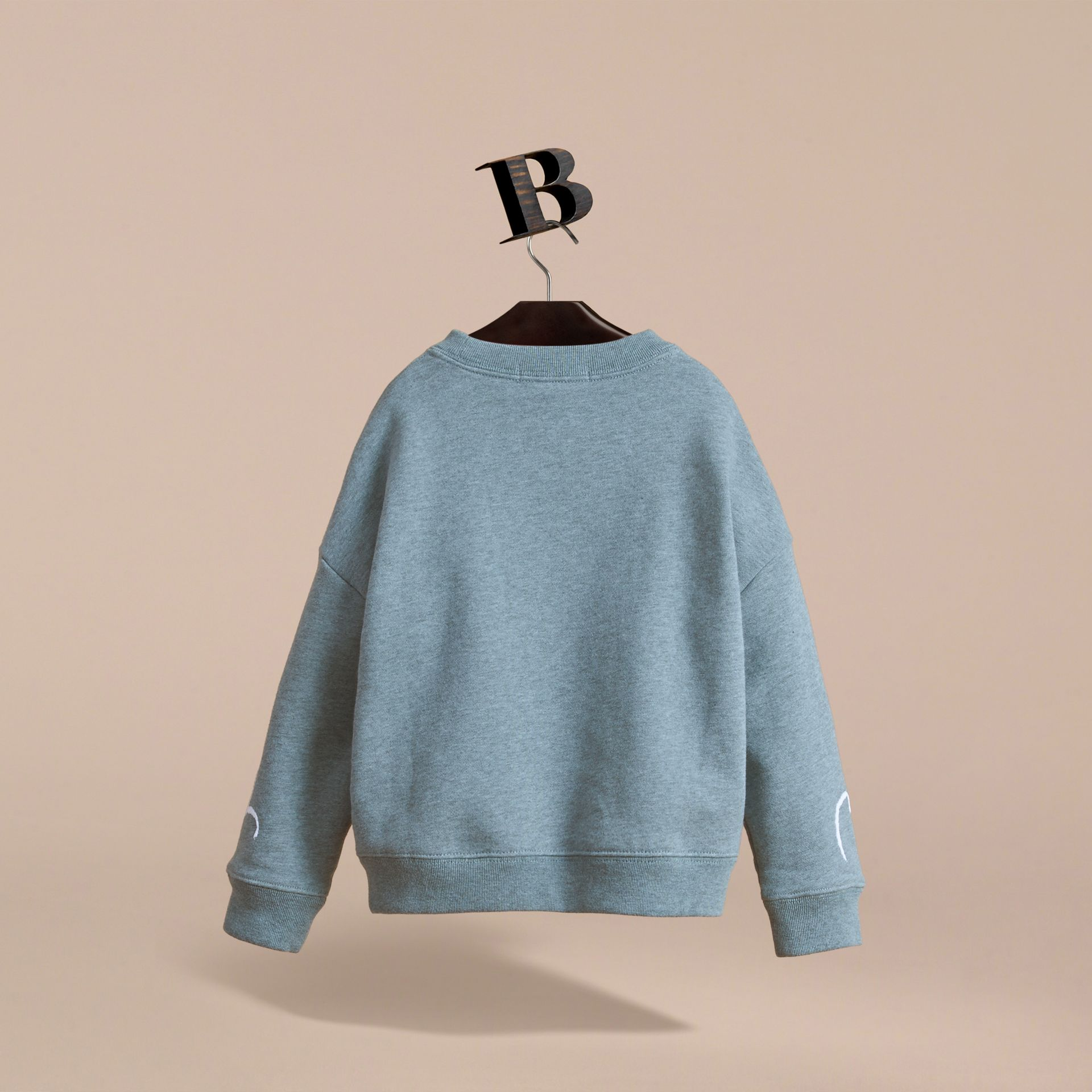 Head in the Clouds Print Cotton Sweatshirt in Powder Blue - Girl | Burberry - gallery image 4