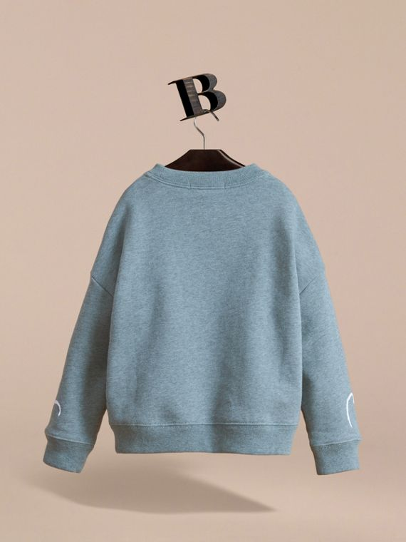 Head in the Clouds Print Cotton Sweatshirt in Powder Blue - Girl | Burberry - cell image 3