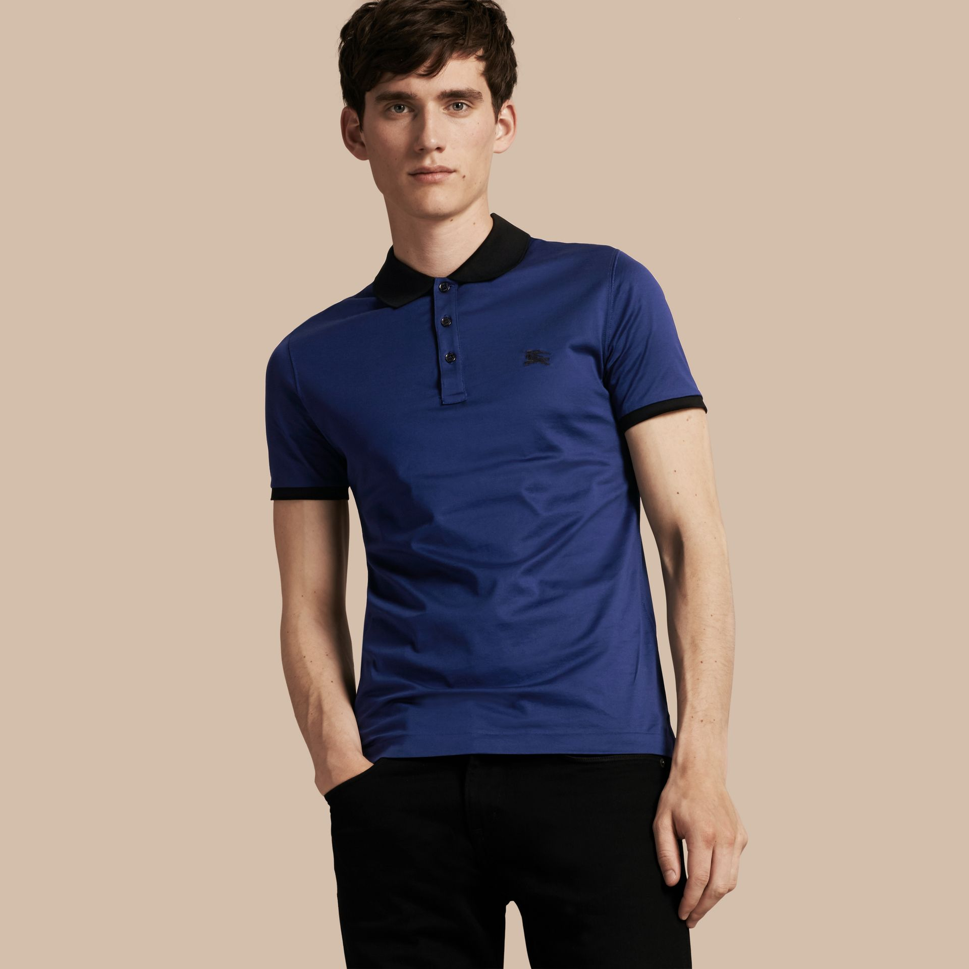Indigo Fitted Cotton Polo Shirt with Tonal Trim Indigo - gallery image 1