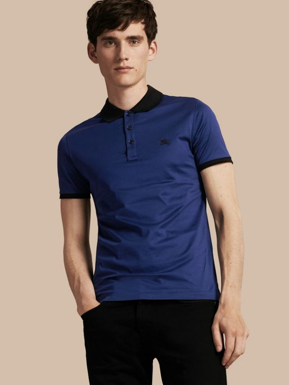Fitted Cotton Polo Shirt with Tonal Trim Indigo