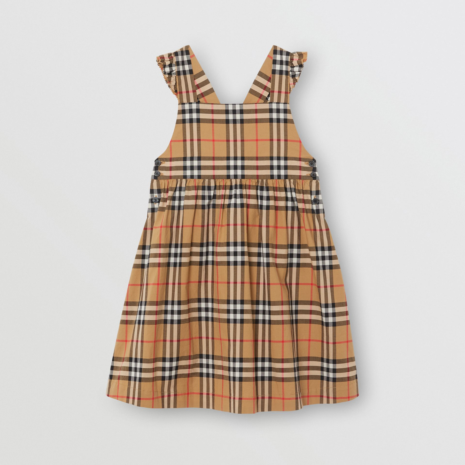Ruffle Detail Vintage Check Cotton Dress in Antique Yellow | Burberry - gallery image 0