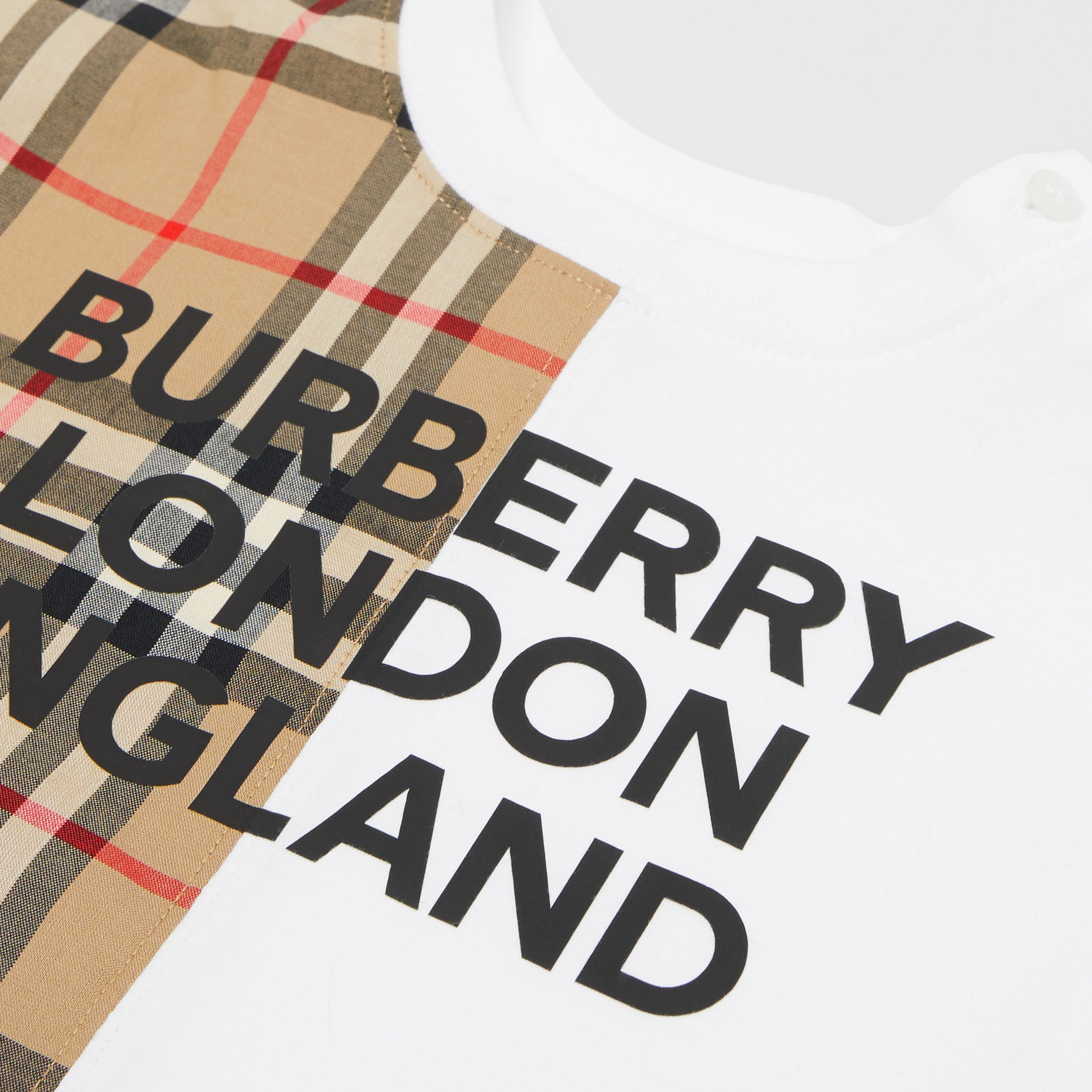 Vintage Check Panel Cotton Playsuit in White - Children | Burberry - 2