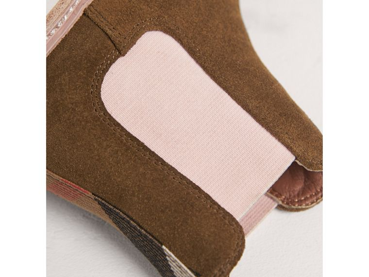 Two-tone Suede Chelsea Boots in Sandstone | Burberry - cell image 1