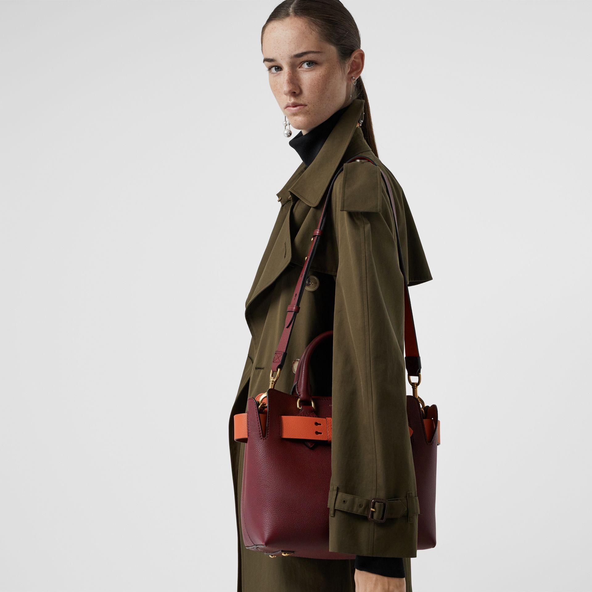 The Small Leather Belt Bag in Deep Claret - Women | Burberry - gallery image 3