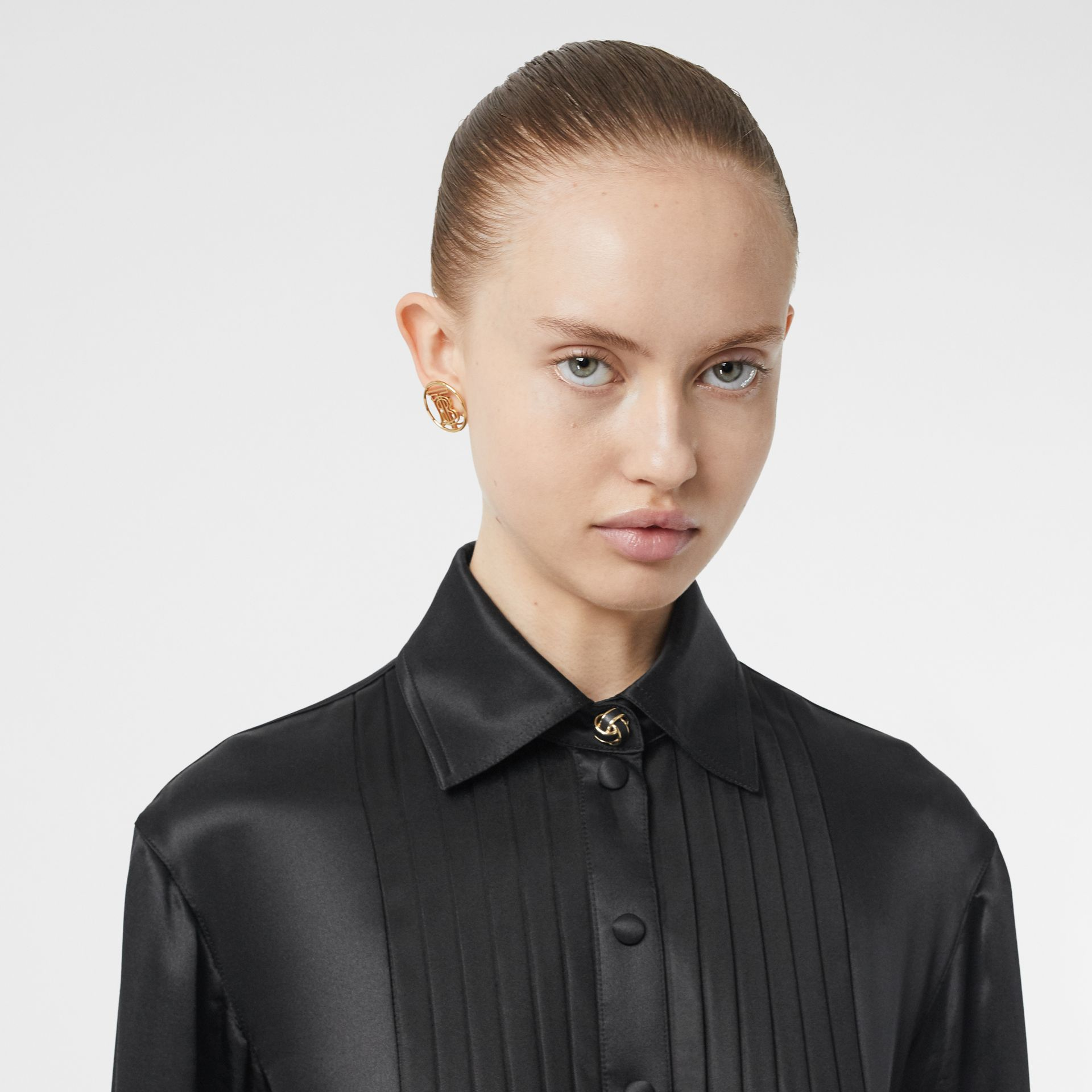 Pleated Silk Satin and Jersey Tie-waist Shirt Dress in Black - Women | Burberry United States - gallery image 1