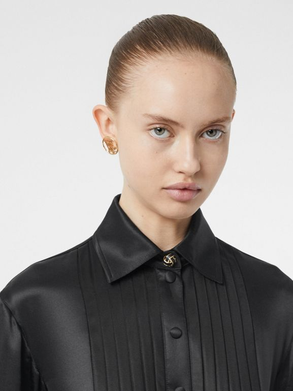 Pleated Silk Satin and Jersey Tie-waist Shirt Dress in Black - Women | Burberry United States - cell image 1