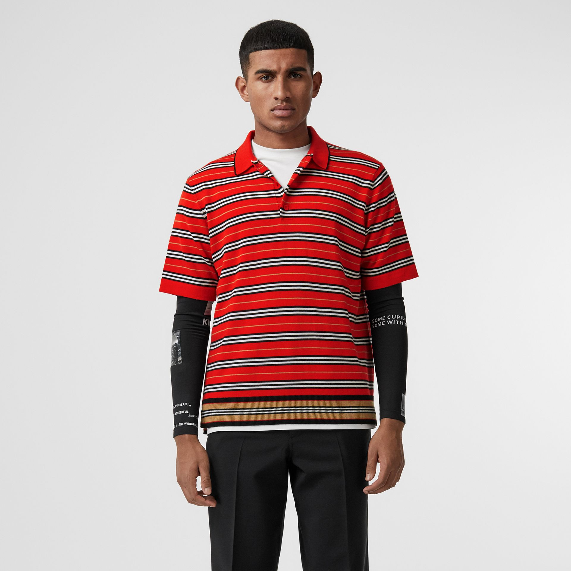 Contrast Stripe Merino Wool Polo Shirt in Bright Red - Men | Burberry Hong Kong - gallery image 5
