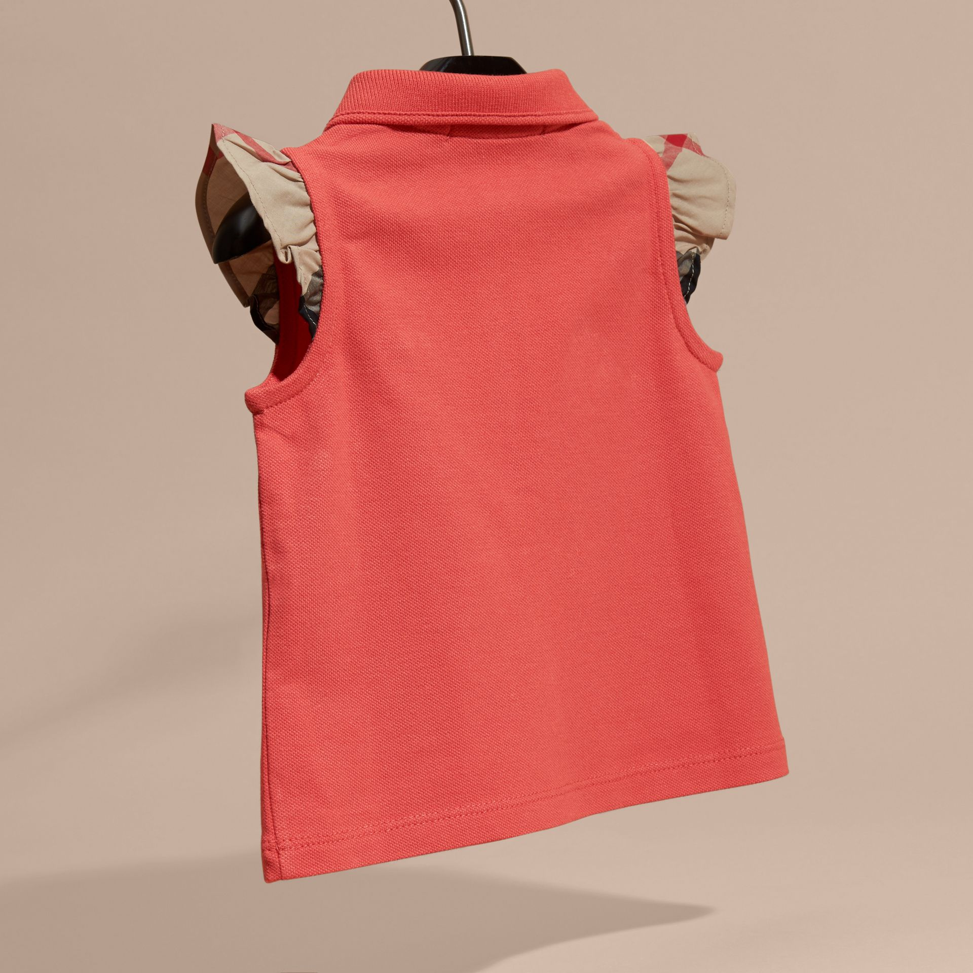 Flutter-sleeve Cotton Piqué Polo Shirt in Coral Red - gallery image 4