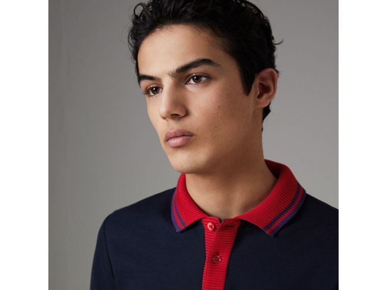 Two-tone Stripe Knitted Detail Cotton Polo Shirt in Navy - Men | Burberry - cell image 1
