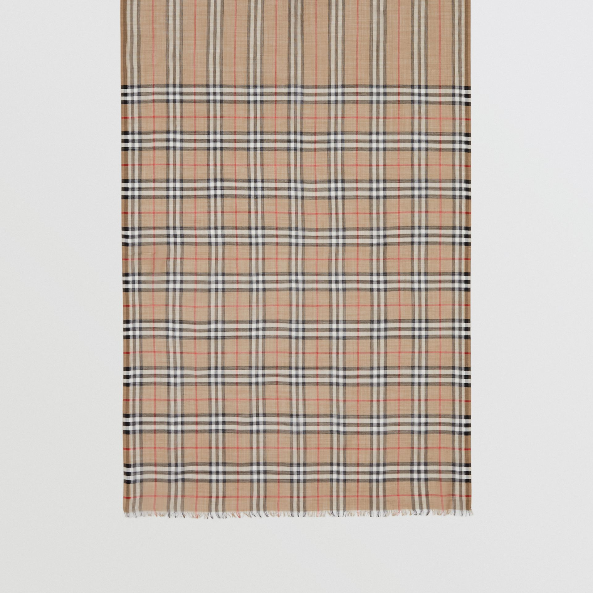 Icon Stripe and Vintage Check Wool Silk Scarf in Archive Beige | Burberry United Kingdom - gallery image 3