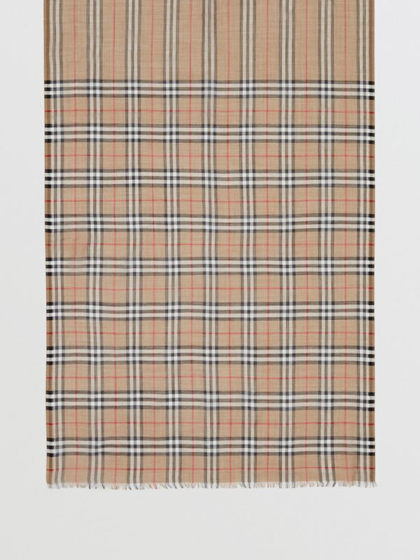 Icon Stripe and Vintage Check Wool Silk Scarf in Archive Beige | Burberry United Kingdom - cell image 3