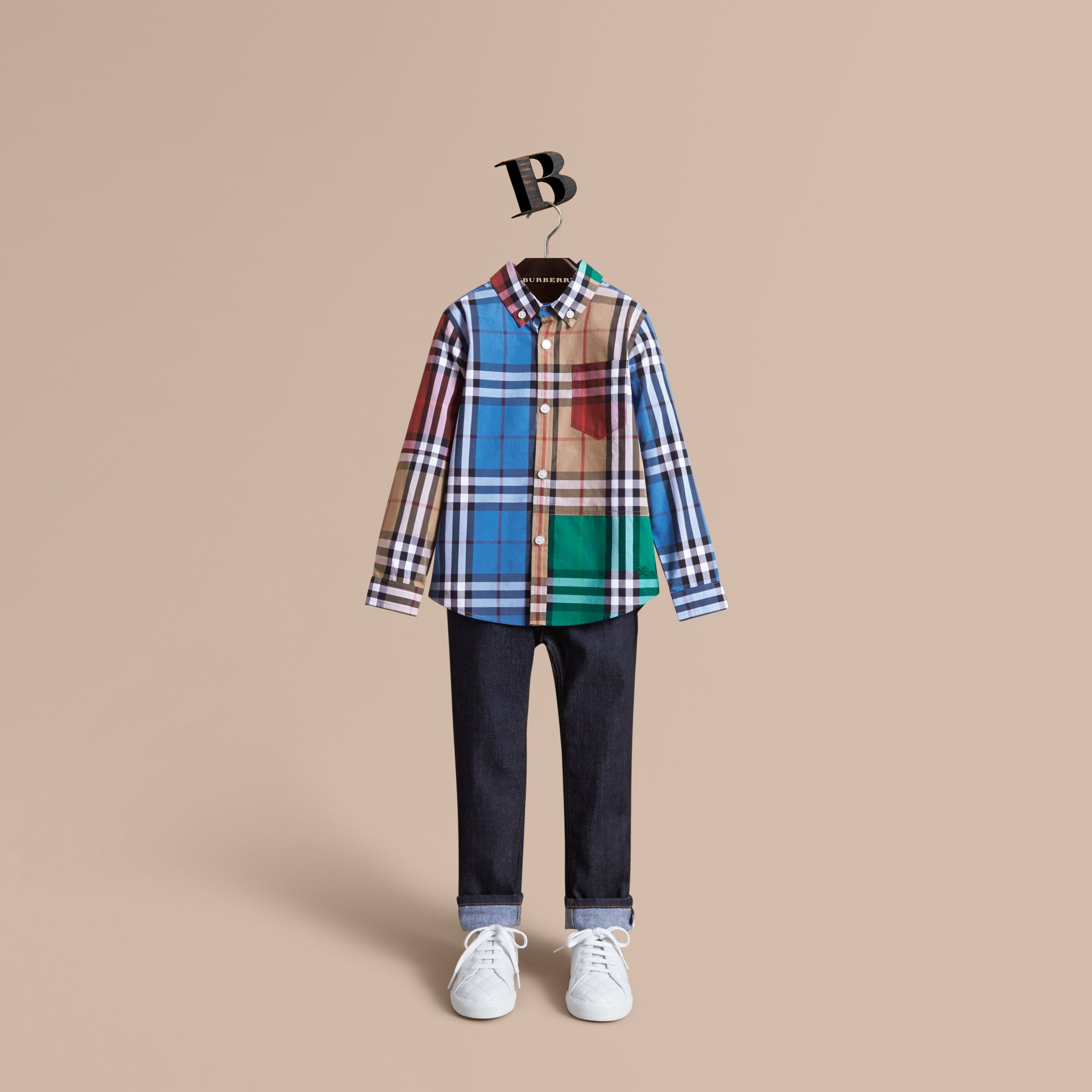 Colour Block Check Cotton Twill Shirt in Camel - Boy | Burberry - gallery image 0
