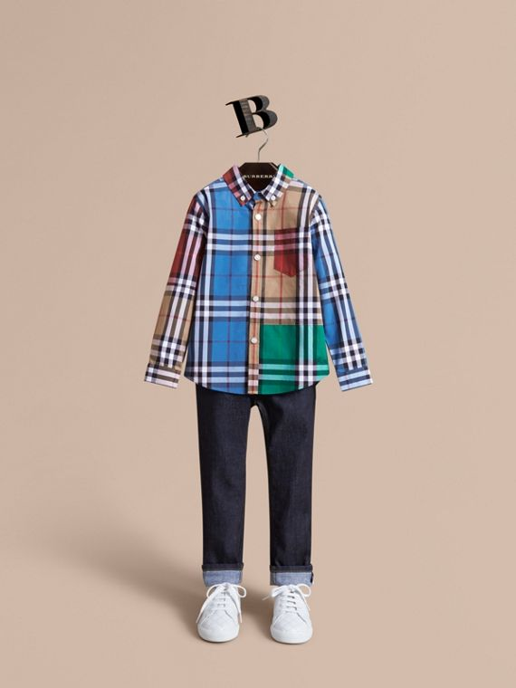 Colour Block Check Cotton Twill Shirt in Camel