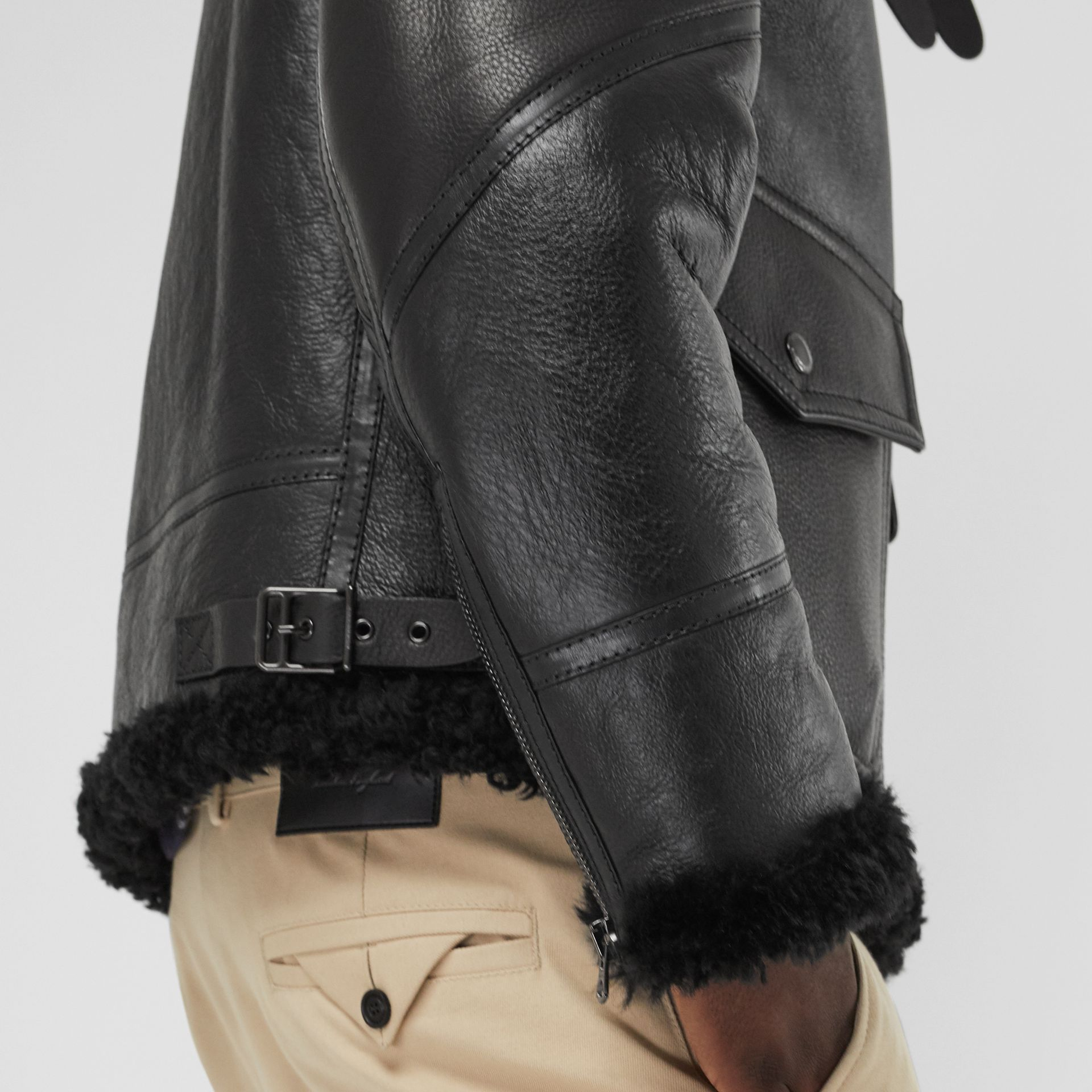Shearling Aviator Jacket in Black - Men | Burberry United Kingdom - gallery image 3