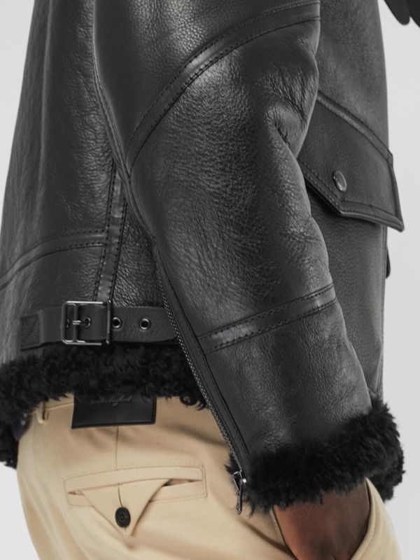 Shearling Aviator Jacket in Black - Men | Burberry - cell image 3