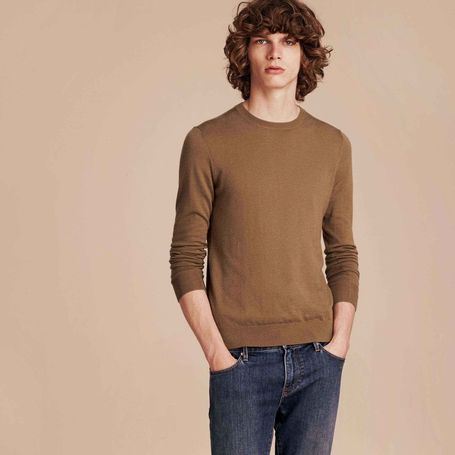 Lightweight Crew Neck Cashmere Sweater with Check Trim Camel - gallery image 6