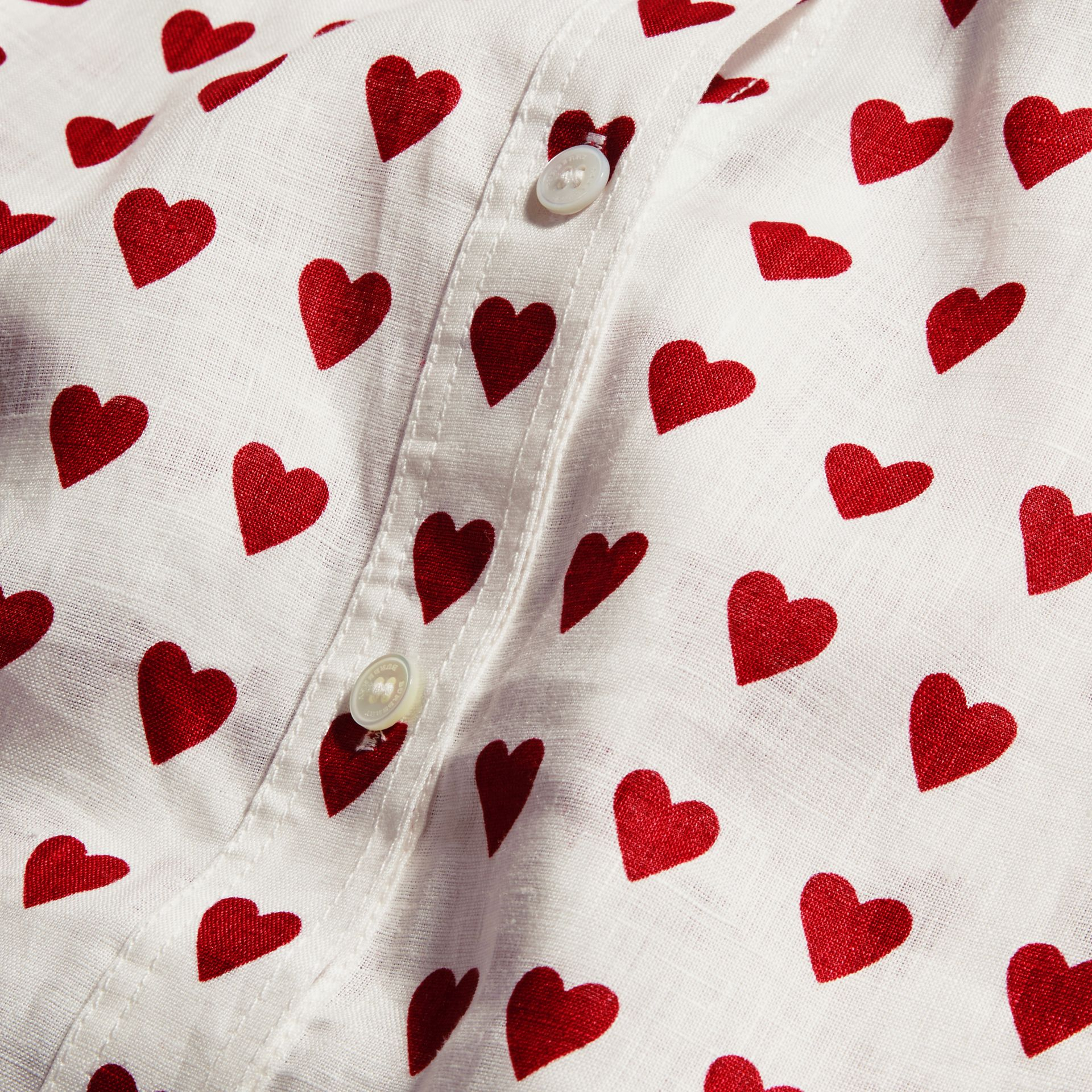 Heart Print Linen Shirt Parade Red - gallery image 2