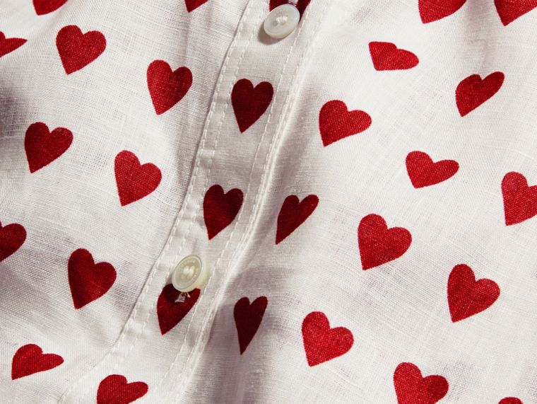 Heart Print Linen Shirt in Parade Red - cell image 1