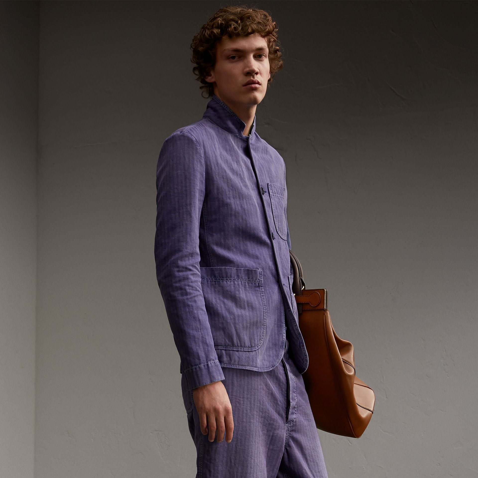 Herringbone Cotton Linen Workwear Jacket in Indigo - Men | Burberry - gallery image 0