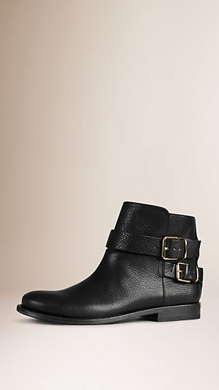 Buckle Detail Leather Ankle Boots