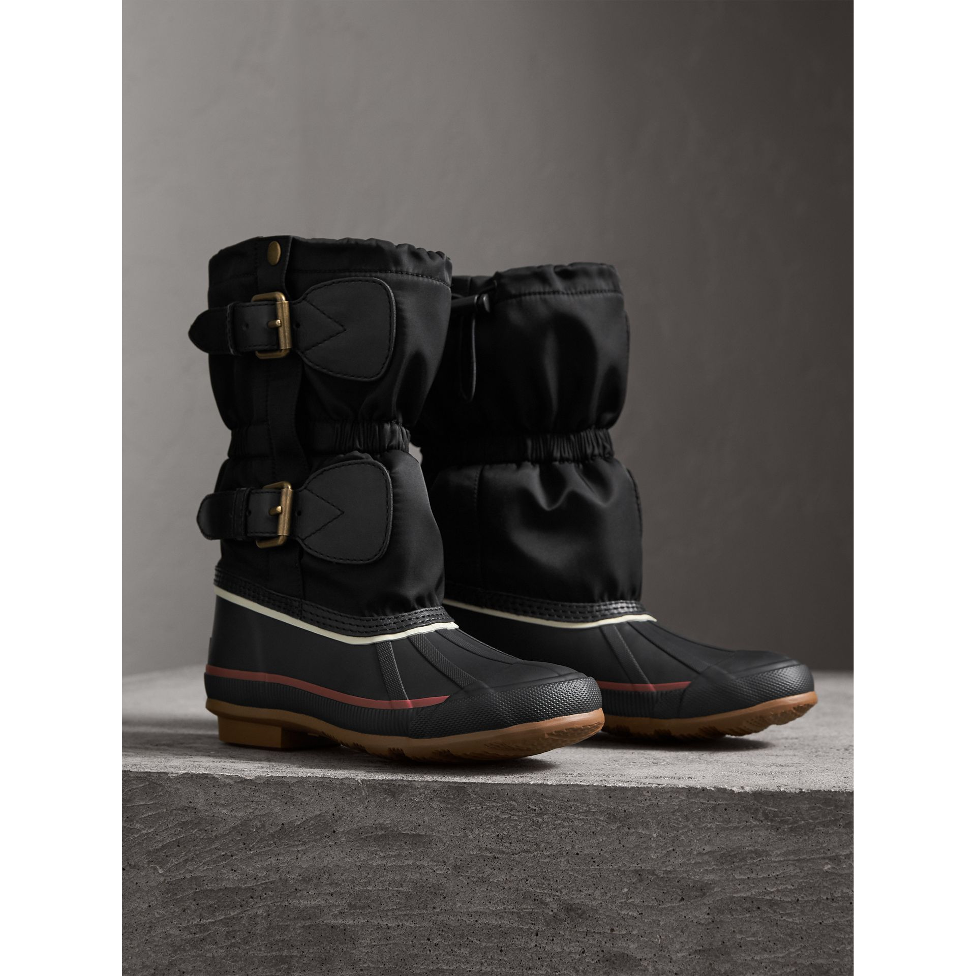 Rubber Leather Blend Duck Boots in Black | Burberry - gallery image 3
