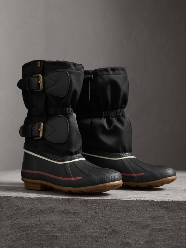 Rubber Leather Blend Duck Boots in Black | Burberry - cell image 3