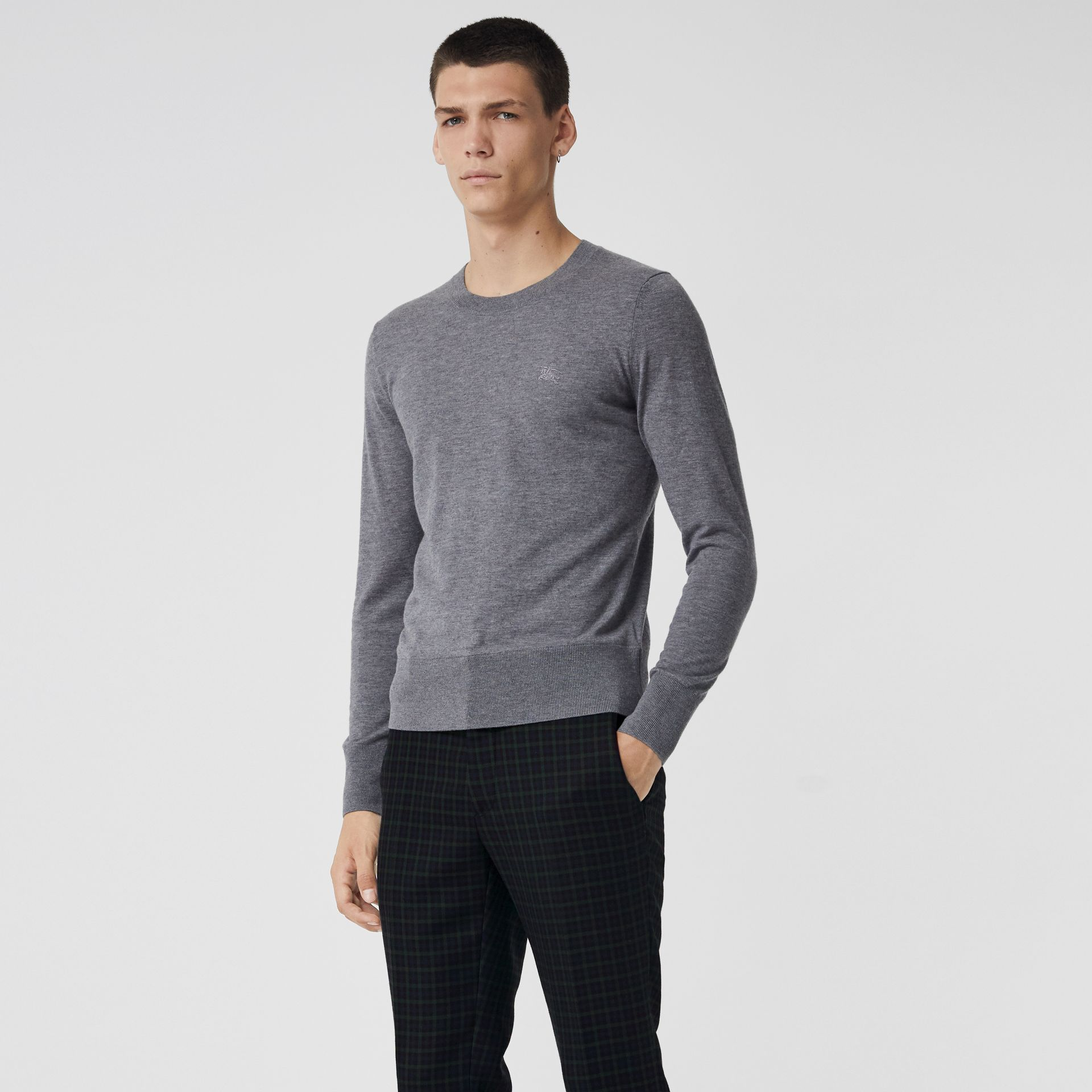 Crew Neck Cashmere Sweater in Pale Grey Melange - Men | Burberry - gallery image 0