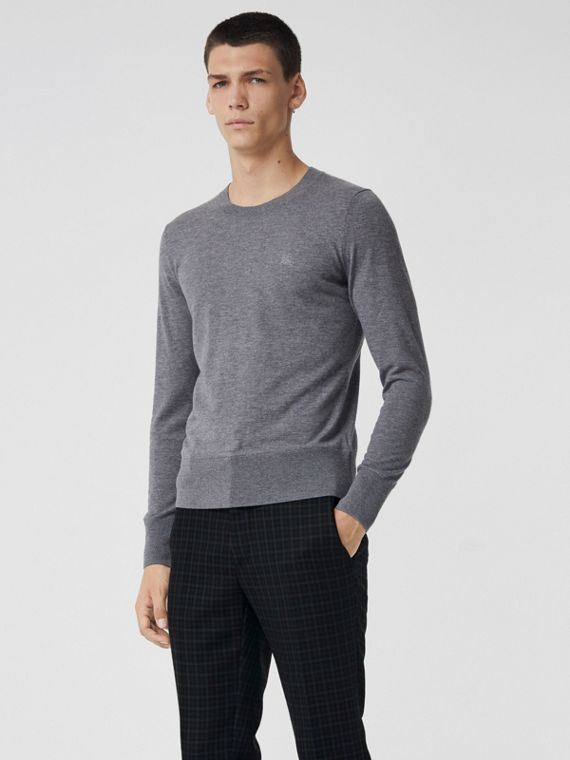 Crew Neck Cashmere Sweater in Pale Grey Melange