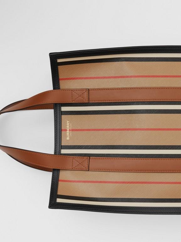 Small Icon Stripe E-canvas Portrait Tote Bag in Archive Beige - Women | Burberry United Kingdom - cell image 1