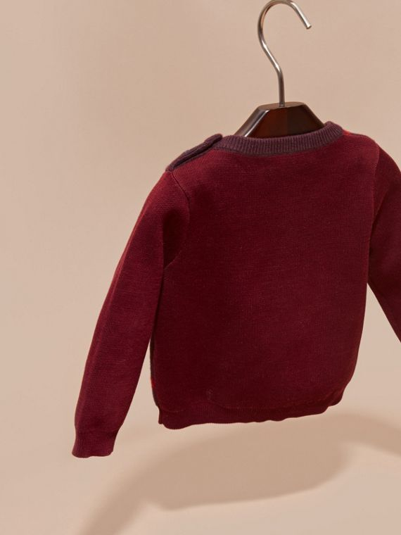 Check Wool Cashmere Blend Sweater in Deep Claret - cell image 3
