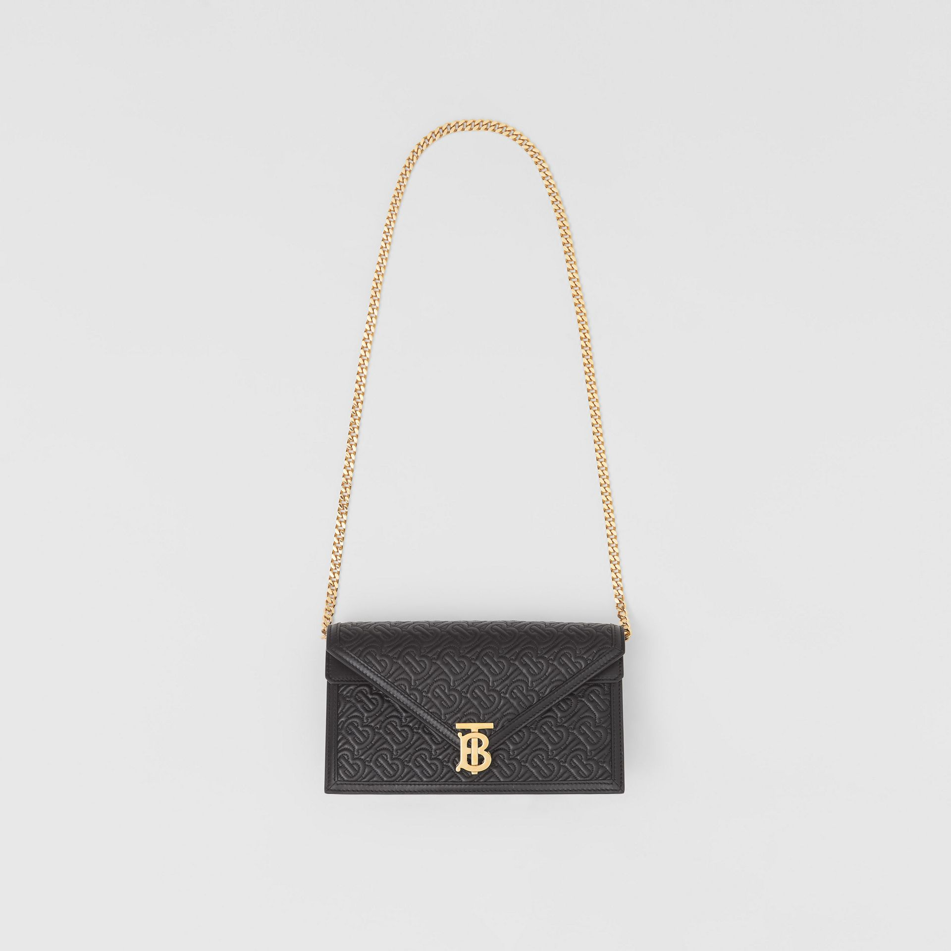 Small Quilted Monogram TB Envelope Clutch in Black - Women | Burberry - gallery image 3
