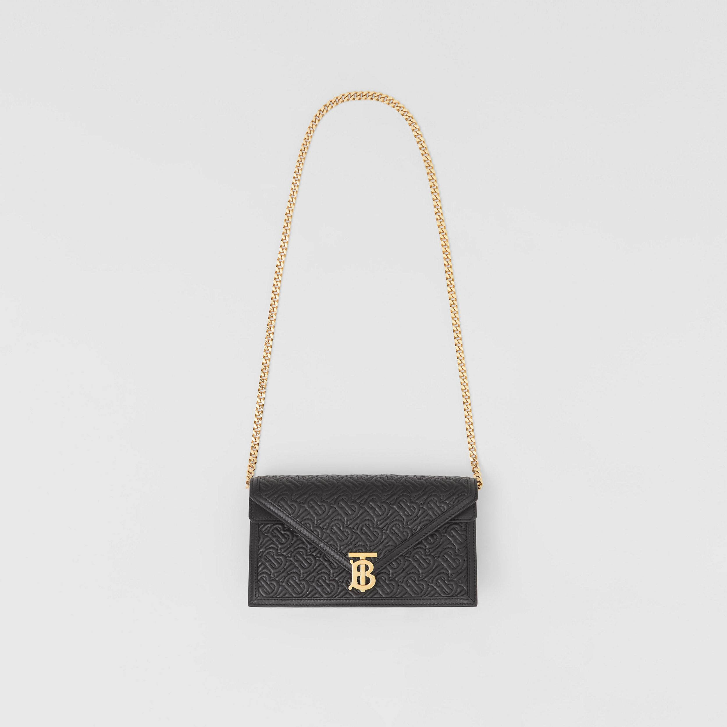 Small Quilted Monogram TB Envelope Clutch in Black - Women | Burberry - 4