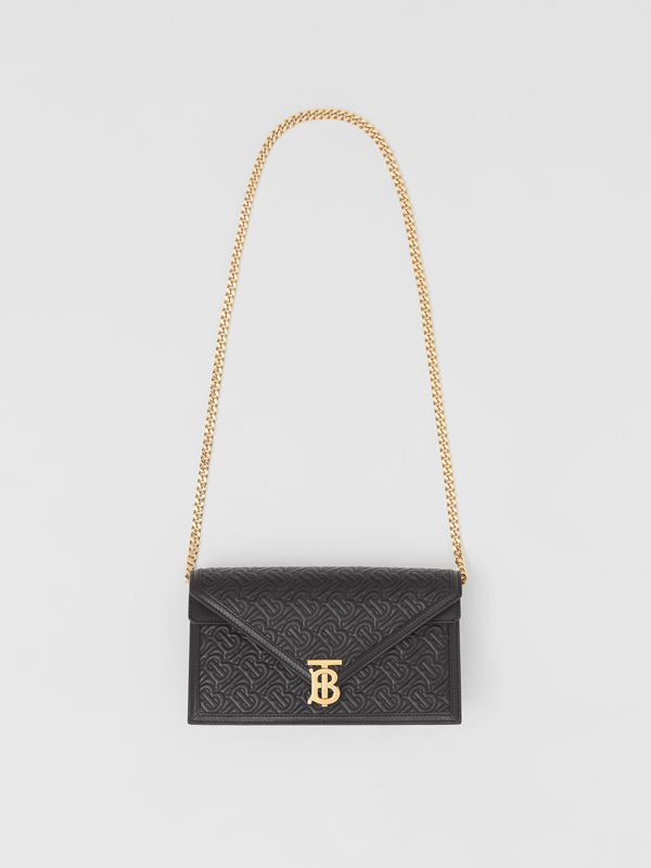 Small Quilted Monogram TB Envelope Clutch in Black - Women | Burberry - cell image 2
