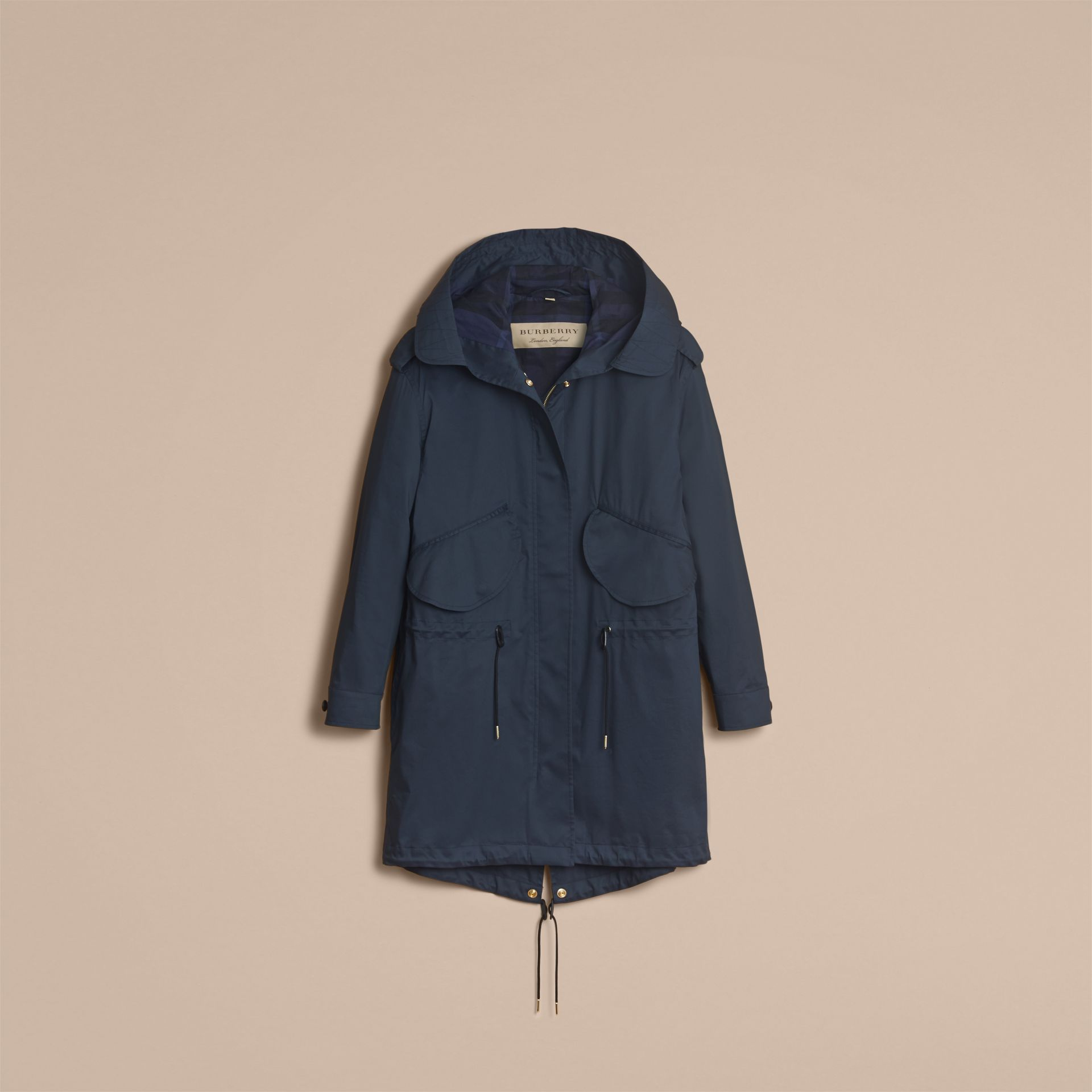 Hooded Water-resistant Parka in Navy - Women | Burberry - gallery image 3