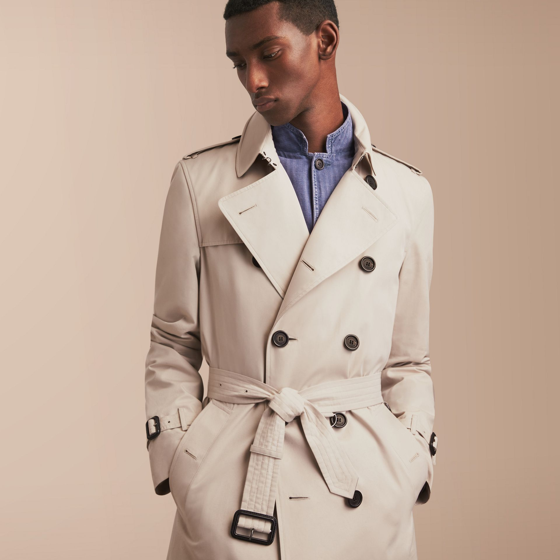 The Kensington – Mid-Length Heritage Trench Coat in Stone - Men | Burberry - gallery image 6