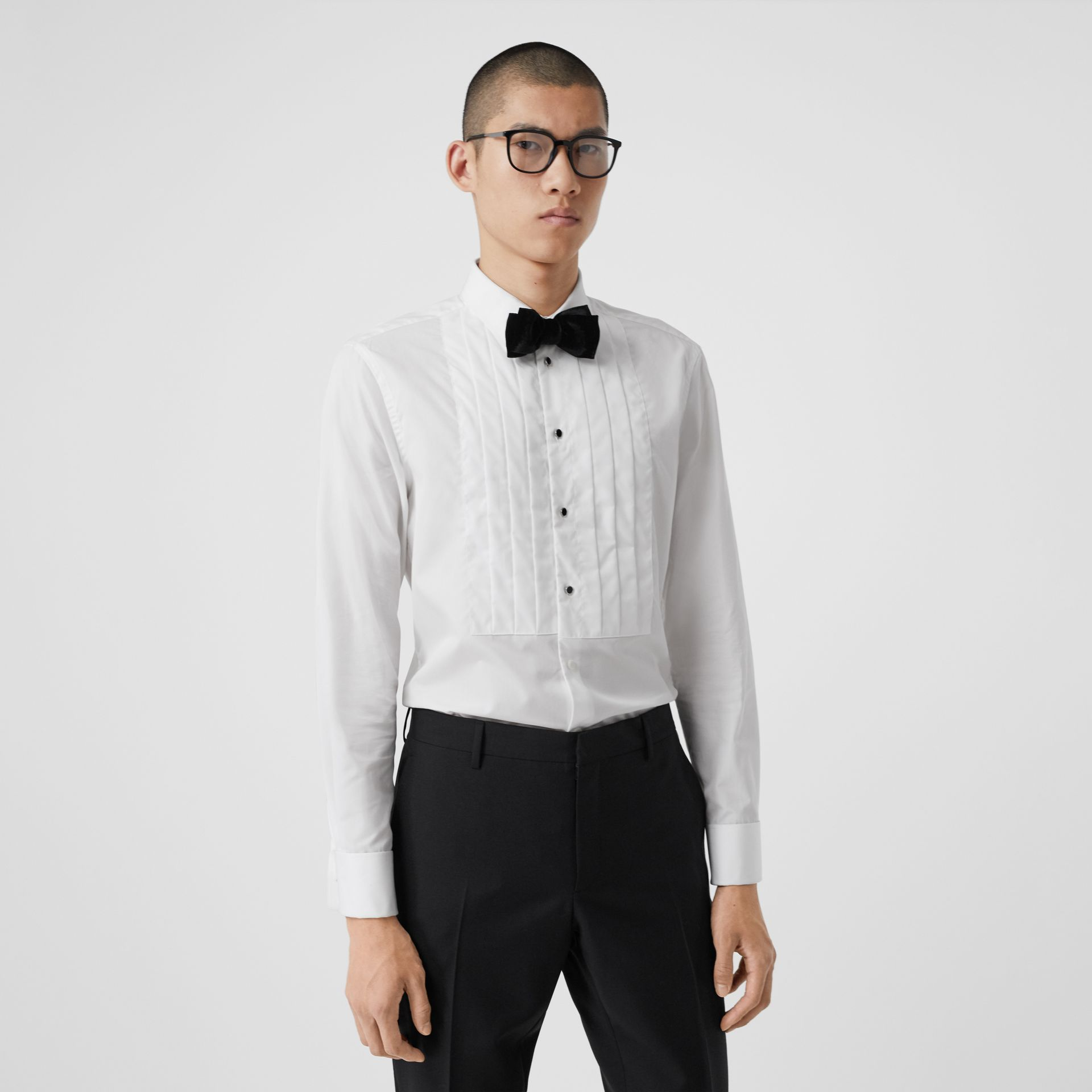Pleated Bib Cotton Poplin Dress Shirt in Optic White - Men | Burberry - gallery image 0