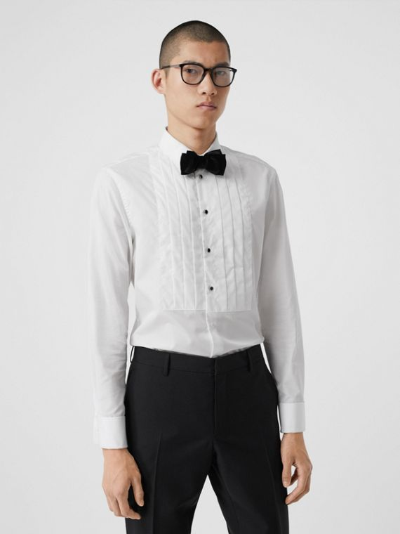Pleated Bib Cotton Poplin Dress Shirt in Optic White