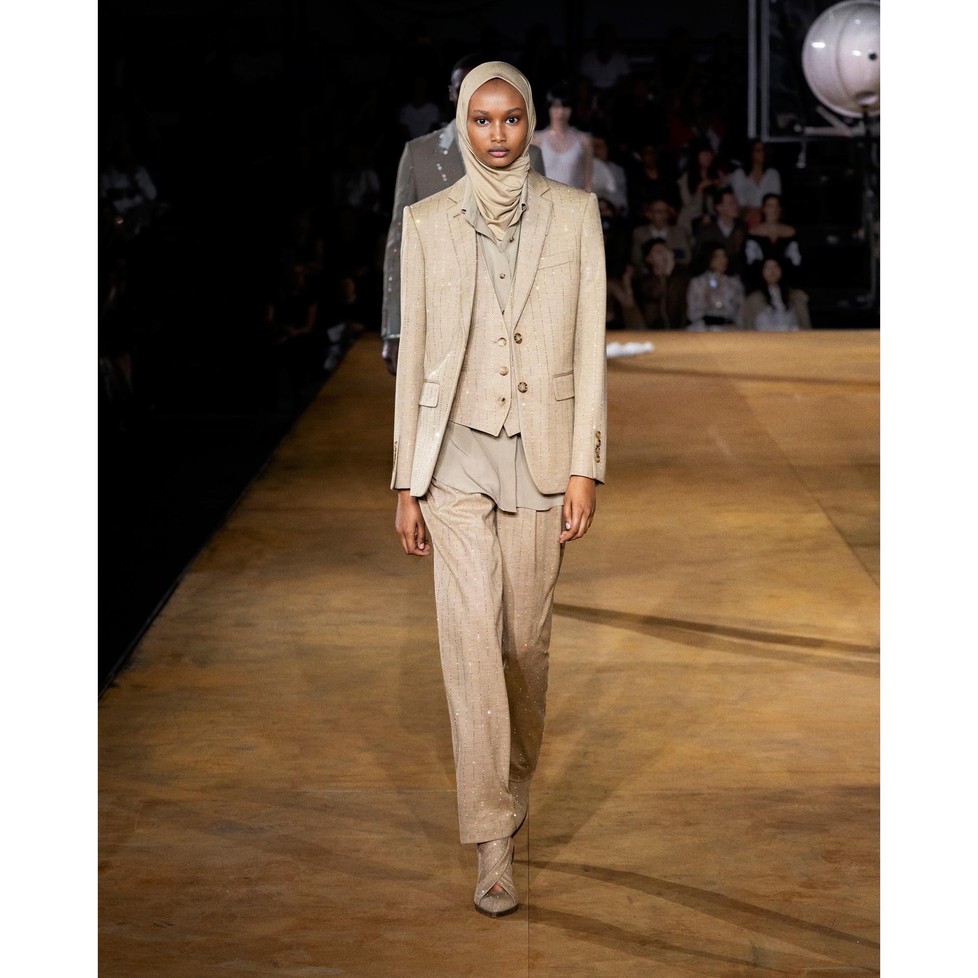 Shirt Detail Crystal Pinstriped Wool Blend Waistcoat in Pecan Melange - Women | Burberry Australia - gallery image 5