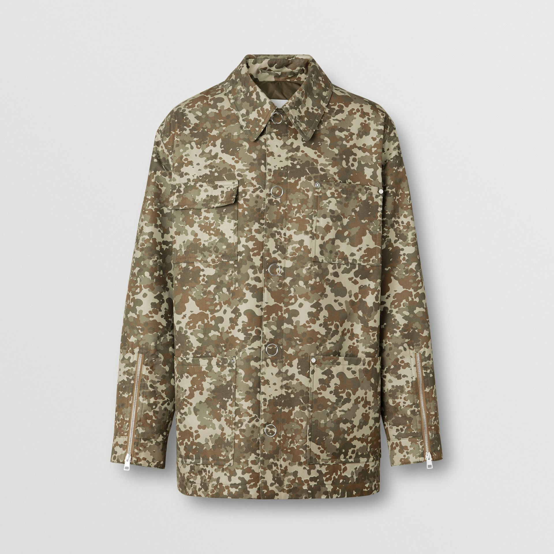 Camouflage Print Cotton Gabardine Field Jacket in Khaki Green - Men | Burberry - gallery image 3