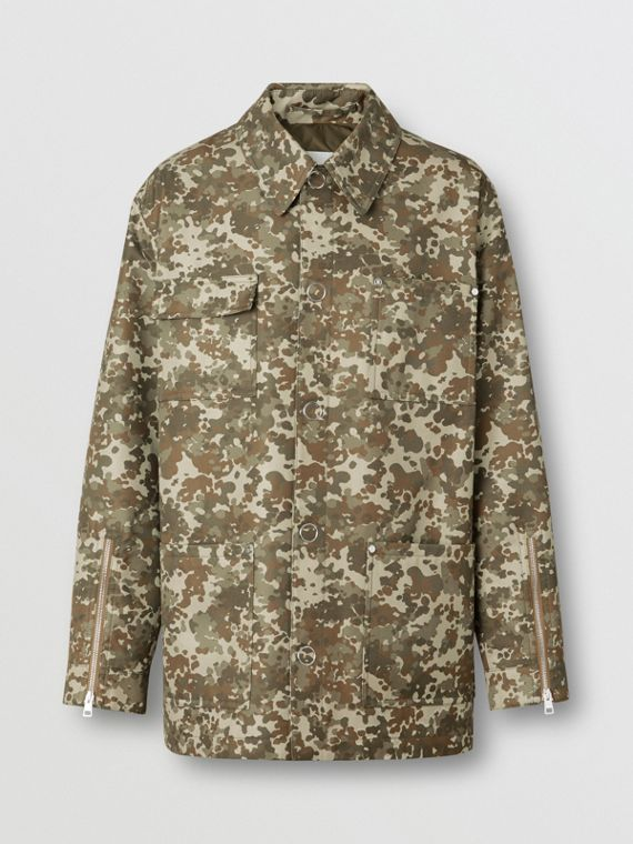 Camouflage Print Cotton Gabardine Field Jacket in Khaki Green