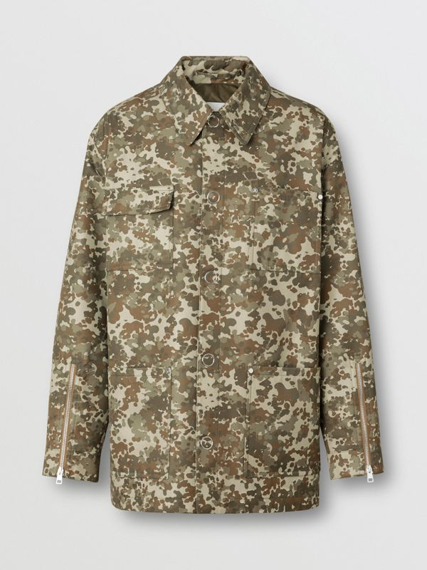 Camouflage Print Cotton Gabardine Field Jacket in Khaki Green - Men | Burberry - cell image 3