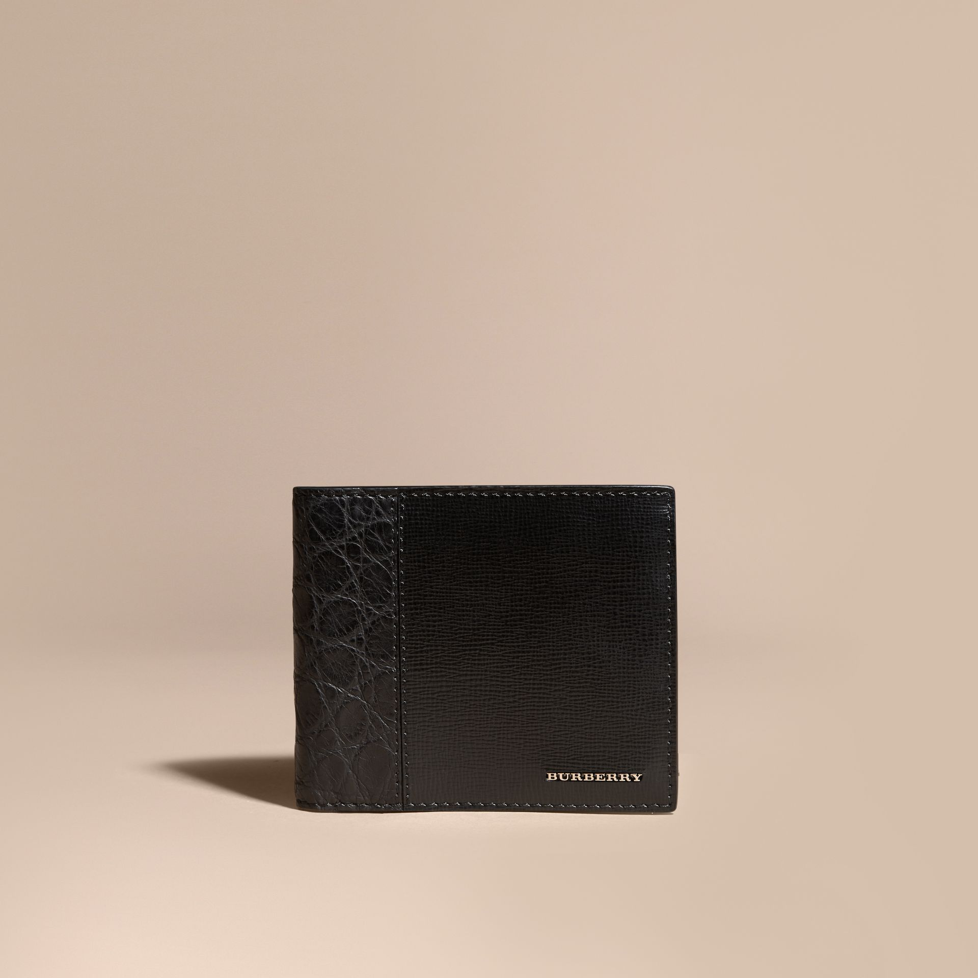 Leather and Alligator International Bifold Wallet in Black - Men | Burberry Hong Kong - gallery image 6