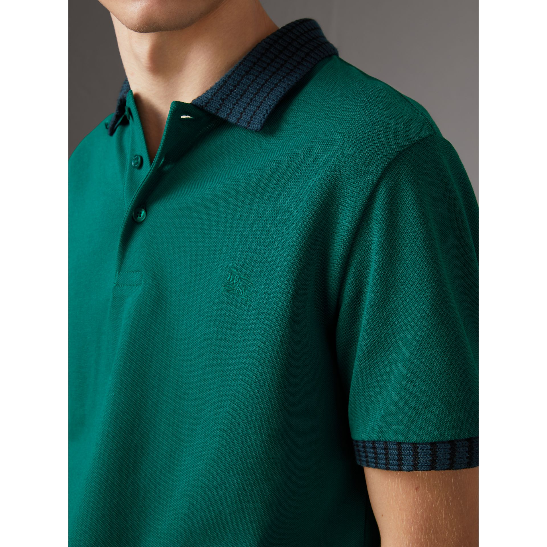 Knitted Detail Cotton Piqué Polo Shirt in Deep Viridian Green - Men | Burberry - gallery image 1