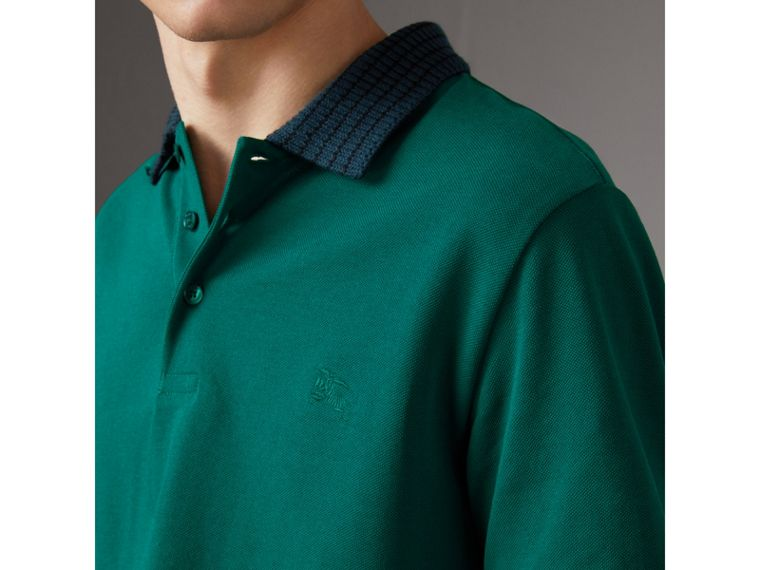 Knitted Detail Cotton Piqué Polo Shirt in Deep Viridian Green - Men | Burberry Singapore - cell image 1
