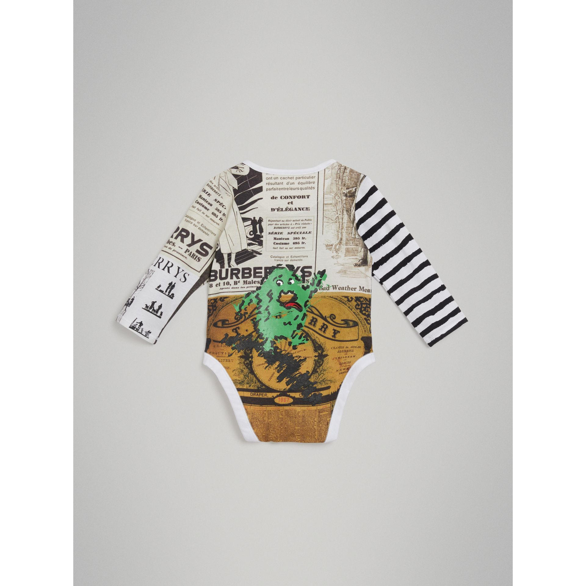 Monster Motif Three-piece Baby Gift Set in Green - Children | Burberry - gallery image 3