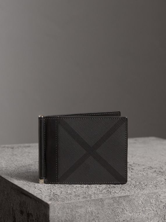London Check Money Clip Wallet in Charcoal/black