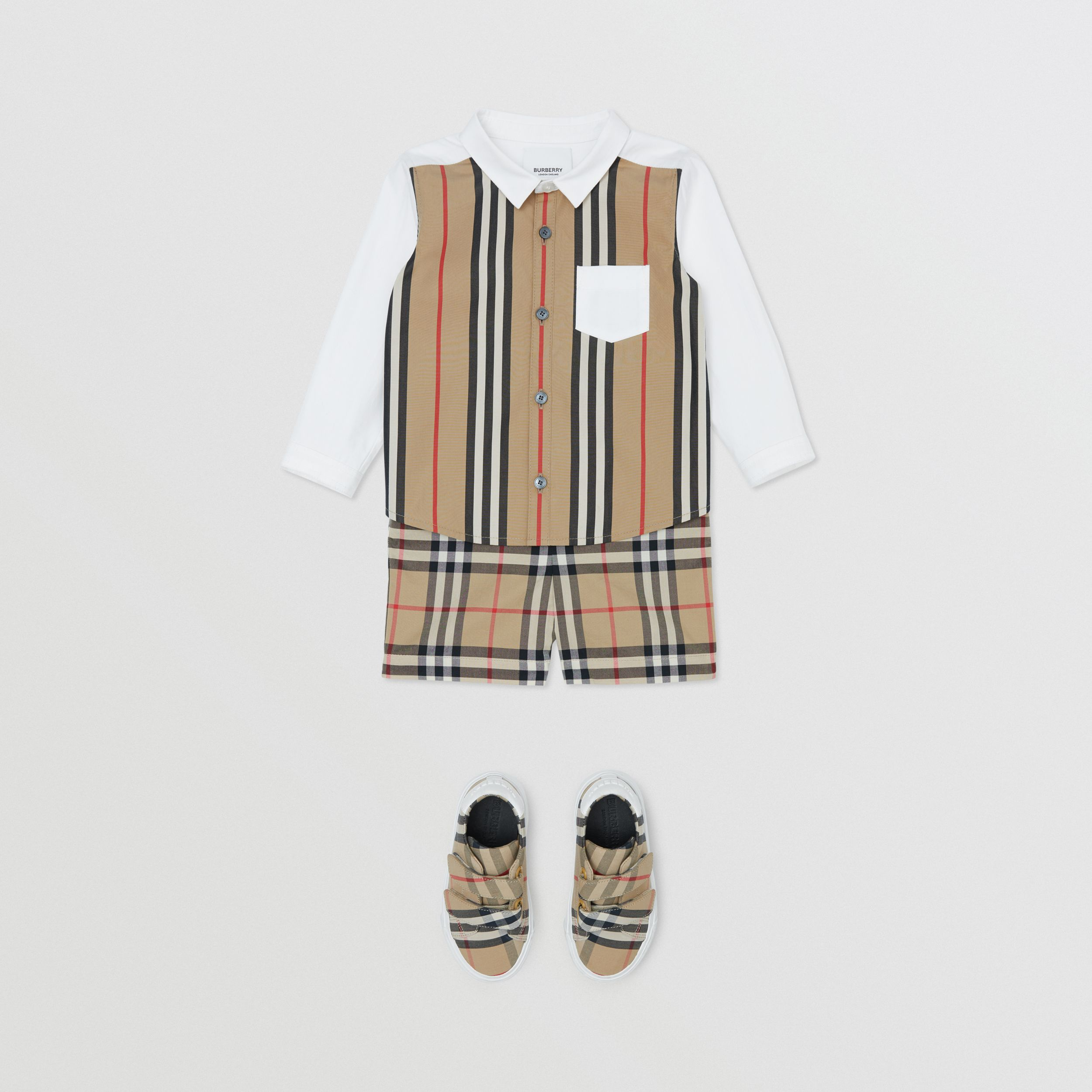 Icon Stripe Panel Stretch Cotton Shirt in White - Children | Burberry - 3