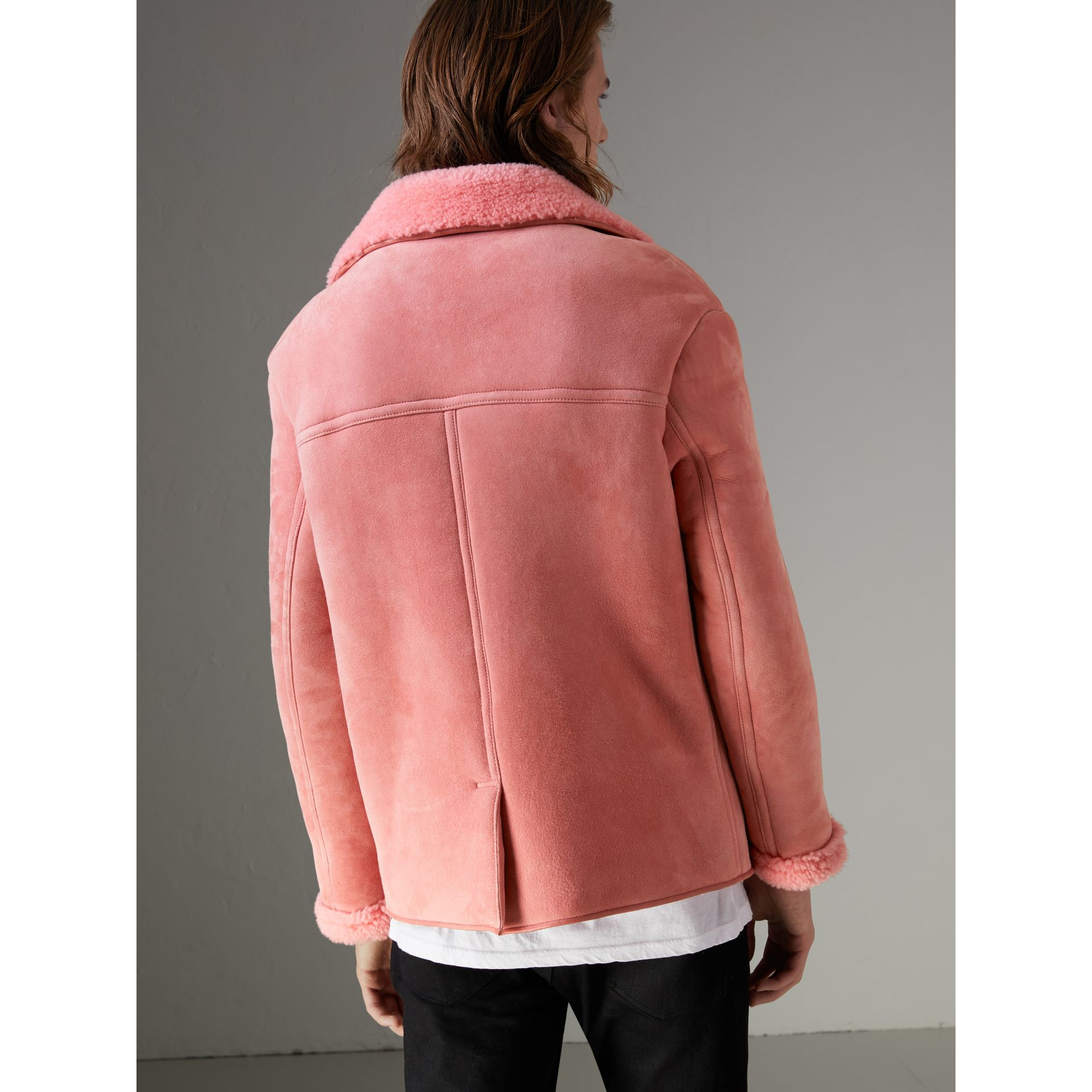 Leather Trim Shearling Jacket in Copper Pink - Men | Burberry - gallery image 2