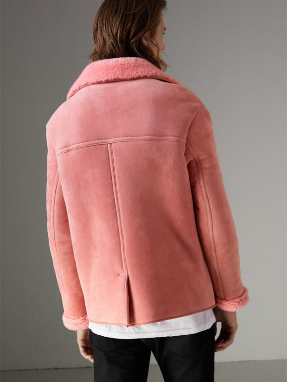 Leather Trim Shearling Jacket in Copper Pink - Men | Burberry - cell image 2